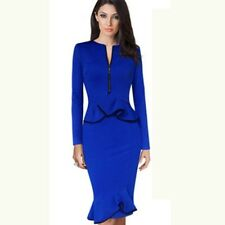 New Style Blue Color Front Zipper O-neck Long Sleeves Casual Women Dress