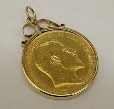 GOLD EDWARD 1909 FULL SOVEREIGN COIN & MOUNT