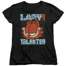 Garfield Comic Cat LAZY BUT TALENTED Licensed Women's T-Shirt All Sizes
