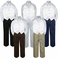 4pc Boy Suit Set White Bow Tie Vest Baby Toddler Kid Pants S-7 Wedding Church
