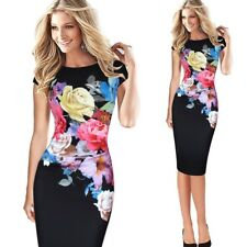 Women Elegant Floral Printed Cap Sleeve Casual Knee Length Dress