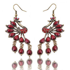 Fashion Vintage Jewelry Womens Peacock Dangle Hook Earrings Crystal Resin