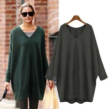 Women Casual Collar Plus Size V Neck Long Sleeve Sweater Dress