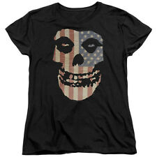 Misfits Band FIEND SKULL Color US FLAG Licensed Women's T-Shirt All Sizes