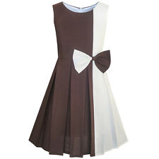 Girls Dress Color Block Contrast Bow Tie Everday Party Size 4-14 US Seller