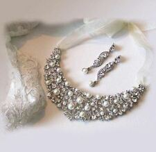 Silver ivory Pearl Bridal Jewelry Bib Necklace Earring Set fashion jewelry set
