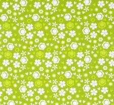 WHITE DAISY LIKE FLOWERS ON LIME GREEN 100% COTTON FABRIC