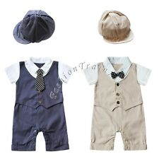 Toddler Baby Boys Clothes Romper Bodysuit Jumpsuit Bow Tie + Hat Outfit Costume