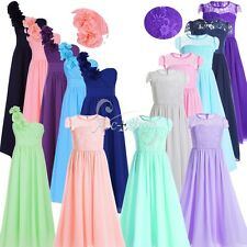 Flower Girl Chiffon Tulle Pageant Wedding Bridesmaid Party Ball Gown Dress 4-14Y