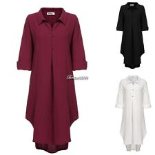 Women's Casual Long Sleeve High Low Hem Plus Size Maxi Dress with Pockets BF901