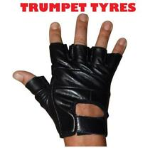 NEW PAIR OF MOTORCYCLE BLACK ROAD CLASSIC FINGERLESS GLOVES LEATHER CONSTUCTION
