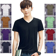 9 color Korea Mens Loose V-neck T shirt short Sleeve Slim fit Casual Basic tops