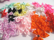 50PCS Satin Ribbon Flower with Crystal Bead Appliques~Craft/Trim