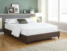 BROWN BED FRAME Queen Full King Twin Size Bedroom Furniture Wood Platform Slats