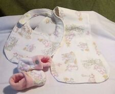 3 Pc. Layette Set Infant Bibs, Burp Cloth, and Slippers (crib shoes) set a