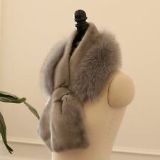 Real mink and fox fur mixed scarf / Genuine fox on mink scarf / Real fur scarf