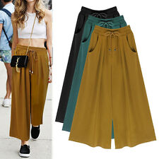 Women's Summer  wide leg pants nine extra fat Baggy pantskirt culottes SZ M-6XL