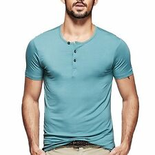 Mens Seamless Casual Henley T-shirt Viscose Soft Solid Basic Tee 5 Colors M~2XL
