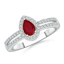Pear Shape Natural Ruby and Diamond Halo Ring 14k White Gold/ Platinum Size 3-13