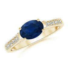Oval Natural Blue Sapphire Solitaire Ring with Diamond Accents 14k Yellow Gold
