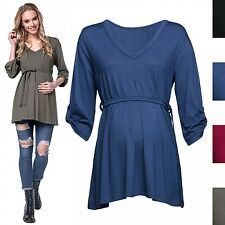 Happy Mama. Women's Maternity Top 3/4 Sleeves Pregnancy Tie Empire Waist. 563p