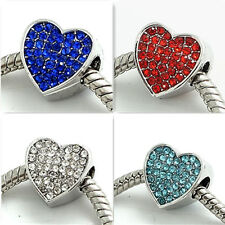 New 1pcs Silver heart CZ European Charm Beads Fit 925 Necklace Bracelet  DIY #3