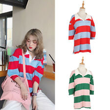 Spring Hit Colour Stripe Puff Sleeve T-shirt Tee Top Travel Cool New 1 Pc