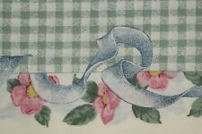 Quilt Fabric Cotton Calico FQ Green Floral Border Check: FQ or Cut-to-Order