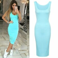 Blue Celeb Women Casual Summer Bandage Dress Cocktail Party Bodycon Sleeveless