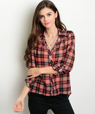 NWT Women's Sheer Lovely & Sexy Red Black Yellow Plaid Blouse Shirt Top