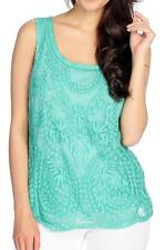 NEW - One World Stretch Knit Scoop Neck Lace Front Tank Top - GREEN Sz S, M