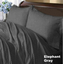1200TC Soft Egyptian Cotton Complete Bedding Items All UK Size Dark Grey Striped