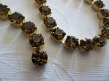 6mm Brown Rhinestone Chain - Brass Setting 29SS Large Czech Smoke Topaz Crystals