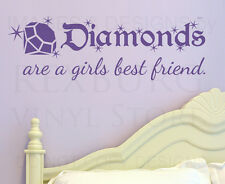 Wall Decal Sticker Quote Vinyl Art Lettering Diamonds Are Girl's Best Friend L51