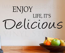 Wall Decal Sticker Quote Vinyl Lettering Large Life is Delicious Kitchen KI02