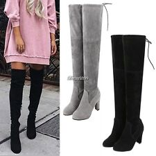Womens Ladies Suede Over Knee Boots Shoes Block High Heel Lace Thigh Boots BF9