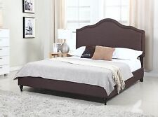 King Queen Full Twin Size Bed Frame Brown Headboard Upholstered Platform Slats