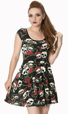 "Banned Apparel ""Envy"" Skulls & Roses Black Red Gothic Short Mini Party Dress"