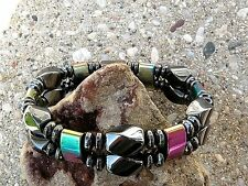 Mens Womans 100% Magnetic Hematite BRACELET ANKLET Therapeutic Rainbow