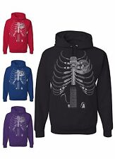 Amped Up Sweatshirt Music Guitar Skeleton Rib Cage Speaker Rock Star Hoodie Gift