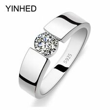 Wedding Ring Men Real 925 Sterling Silver 1 Carat CZ Diamond crystal jewerly