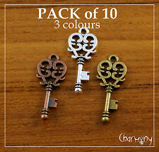 Small Key charms ~PACK of 10~CHOOSE copper silver bronze Steampunk jewelry bead