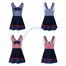 Kids Girls 2Pcs Swimwear Striped Tankini Top+Swim Skirt Bathing Beach Swimsuit