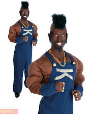 Mens Mr T 80s Costume Baracus BA A Team Adult Fancy Dress Wrestler Outfit
