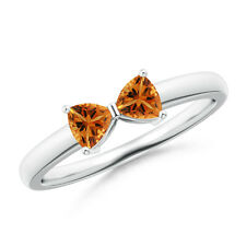 Trillion Cut Natural Citrine Bow Tie Ring 14k White Gold/ Silver Size 3-13