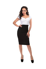 Collectif 1950s Pinup Style Black Hilda Pencil Skirt sizes 10 12 14