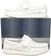Mens New White Touch Fastening Leather Bowling Lawn Shoes Size 6 7 8 9 10 11 12
