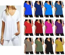 Women Oversized Baggy Loose Fit Turn up Batwing Sleeve Ladies V Neck T-Shirt Top