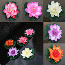 Artificial Lotus Water Lily Floating Flower Garden Pond Tank Plant Plastic Decor