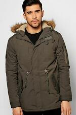 Boohoo Mens Faux Fur Hooded Parka With Borg Lined Hood